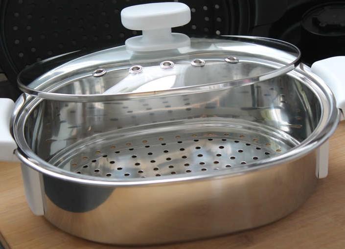Ovalen Garkorb aus Edelstahl mit Glasdeckel Krups Prep & Cook HP5031