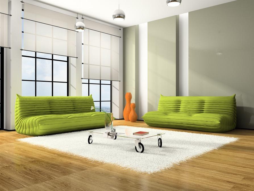 Polstermöbel Grün, Weißer Teppich