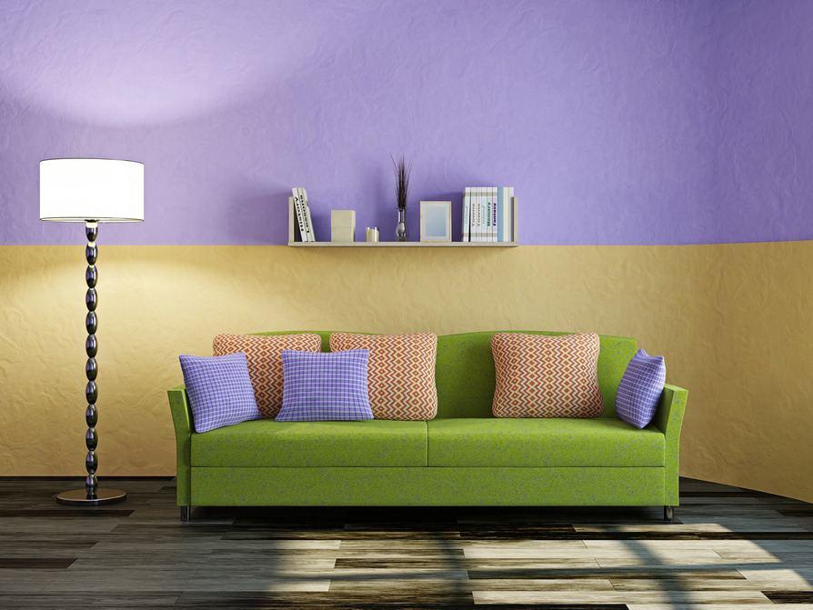 Sofa Grün Und Lila Wand Gelbe Kissen