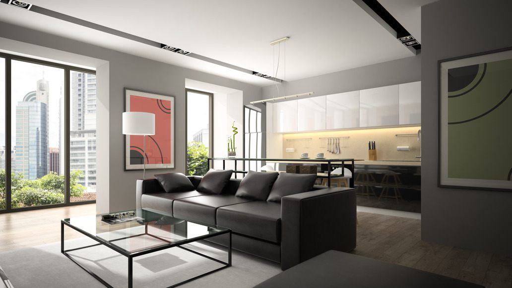 Elegante Wonzimmereinrichtung: Schwarzes Sofa Mit Bar