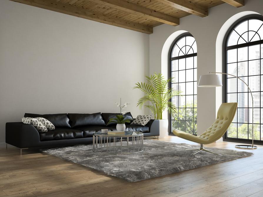 Wohnzimmer Minimalistisch   Schwarzes Sofa