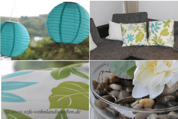 Mittelmeer-Flair im Wohnzimmer mit Sofas in Türkis und Aqua