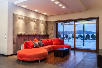 Sofa in Koralle - Rot-Orange