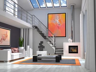 Wohnzimmer Design Idee: Kunstvoll in Weiß
