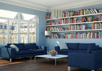 Wohnzimmer Idee Mit Bibliothek: Marineblau Und Himmelblau