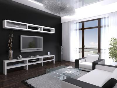 Fesselnd Moderne Wohnzimmer Idee In Schwarz Weiß