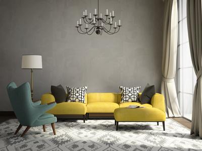 Gemütlich Elegante Wohnzimmer Idee In Gelb Grau/ Retro Stil