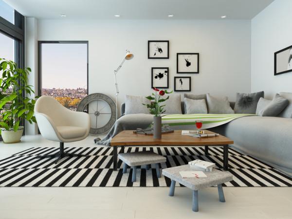 Elegant Wohnzimmer Idee: Gemütlich Und Modern In Grau Schwarz Weiß