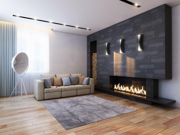 Hochwertig Wohnzimmer Idee Mit Kamin: Sandfarbenes Sofa Und Wand In Anthrazit