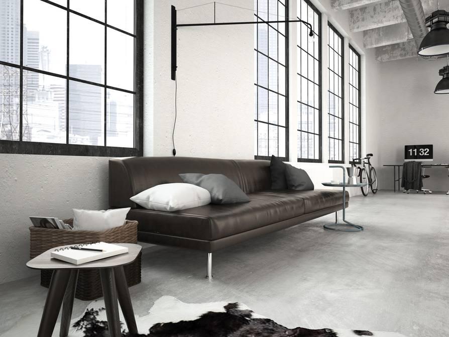 Industrial Loft Style U2013 Wohnzimmer Mit Schwarzem Sofa