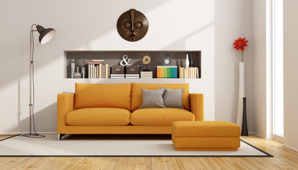 Sofa Orange mit Ottomane