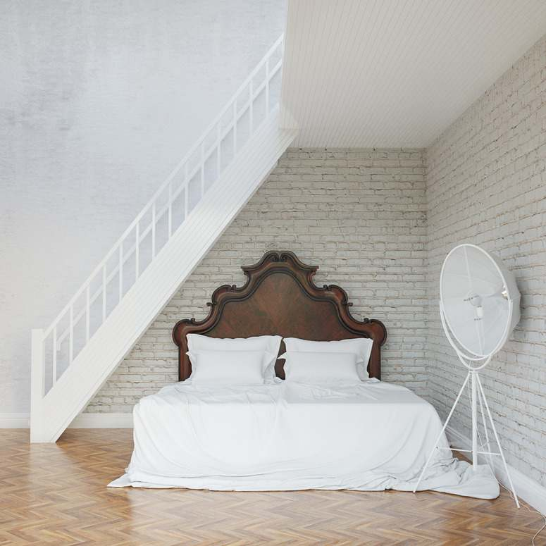 Weißes Schlafzimmer   Holzrahmen Landhausstil