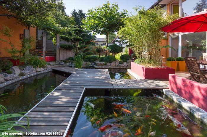 Gartengestaltung ideen mit teich und teichbr cken aus holz for Idee gartengestaltung
