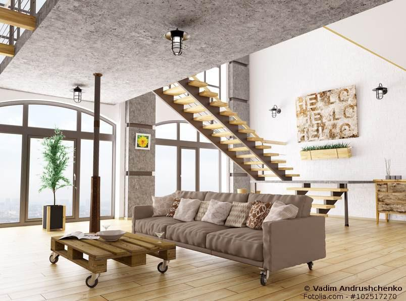 Wohnzimmer im lässigen Industrial Style - Was für Puristen
