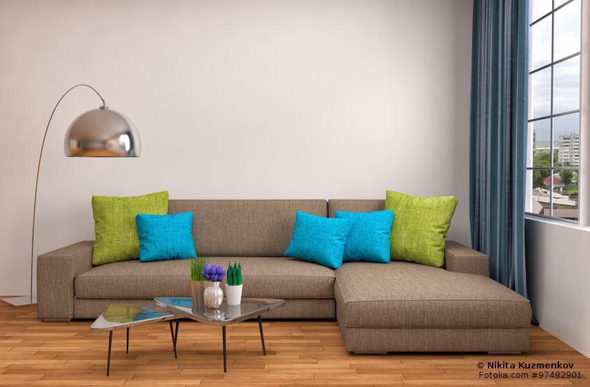 Wohnzimmer Beige Einrichten   Rote Akzente. Sofa Beige Mit Kissen Türkis