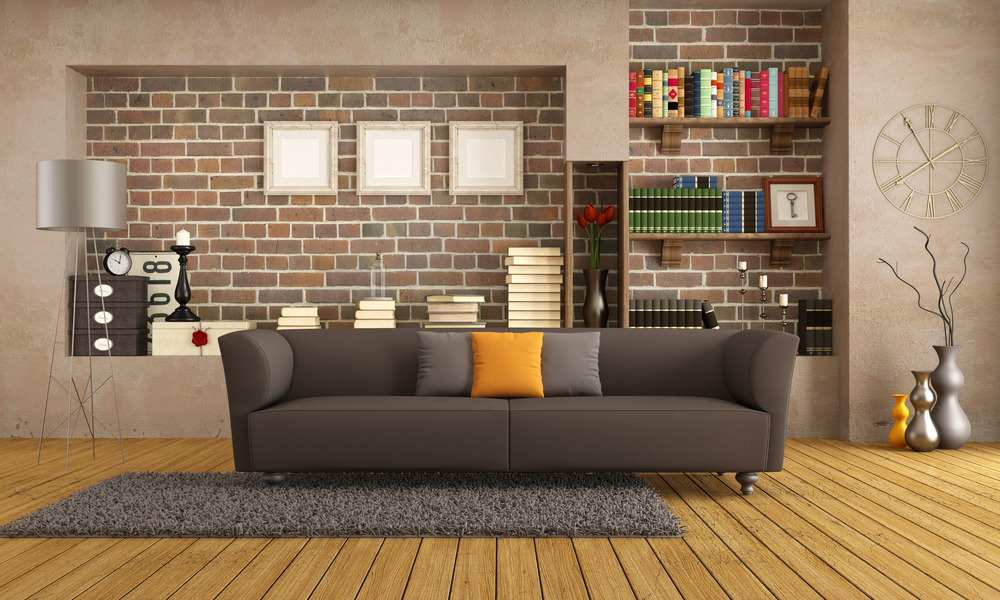Fantastisch Hervorragend Sofa Braun Vintage Wohnzimmer (Envato)
