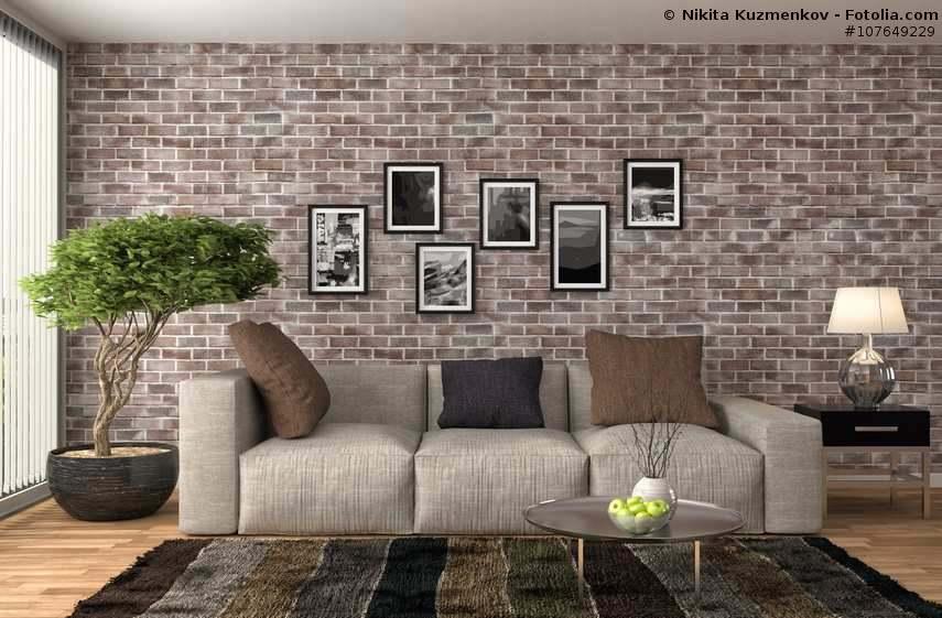 AuBergewohnlich Gemütliches Wohnzimmer Mit Steinwand Und Sofa In Beige