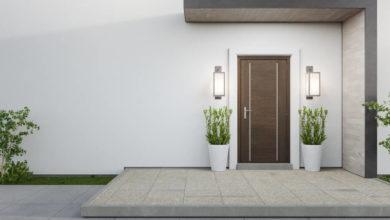 Photo of Rechteckvordach für die Haustür im Bauhaus-Stil